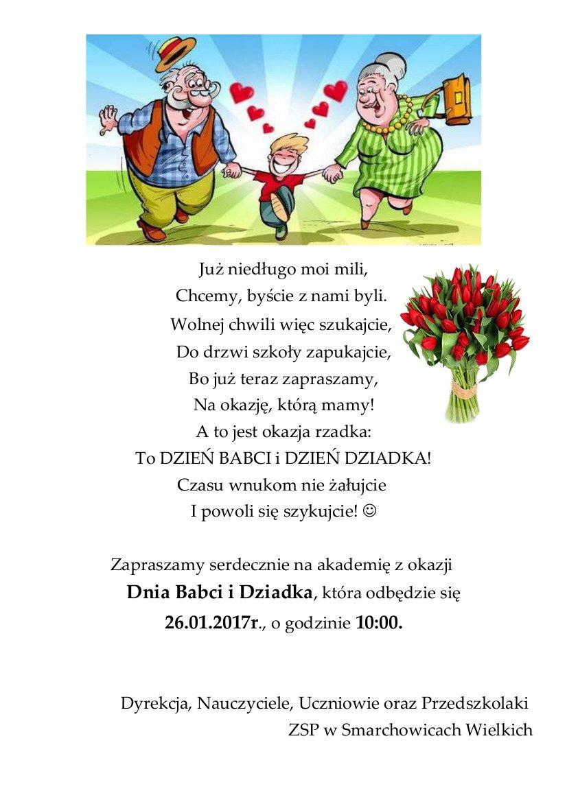 Zaproszenie Na Akademię Z Okazji Dnia Babci I Dziadka